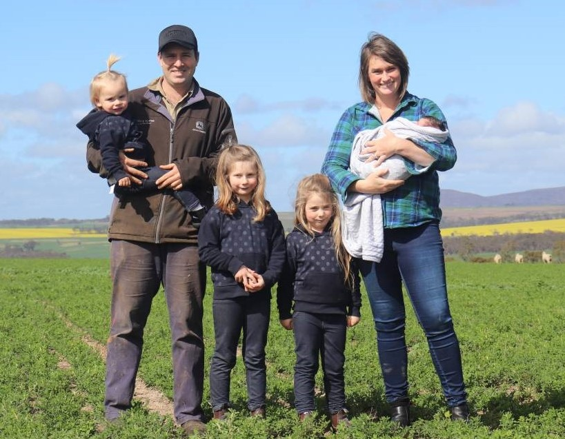 The O'Meehan family - Myles (left), daughters Annabelle, Maggie, Lilly, wife Emily and son Max at Caralinga Farms, Borden, WA.